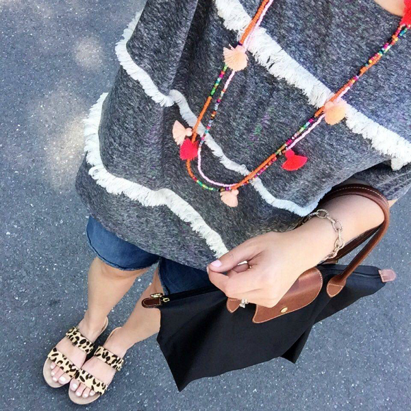 tassel necklace, leopard sandals