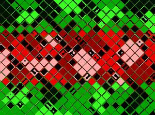 Mosaik mit Rot und Grün und Kacheleffekt