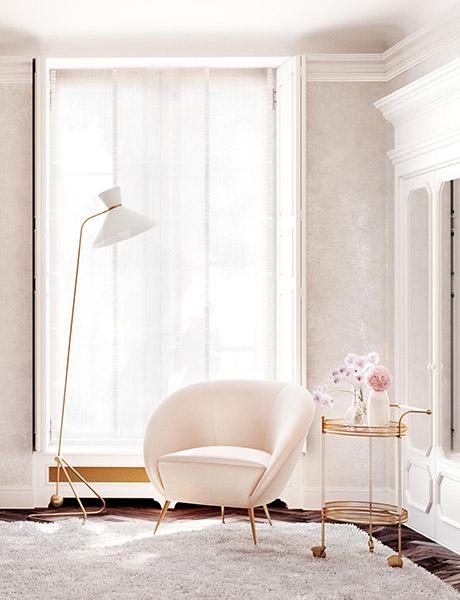 décoration design luxe rose pastel et or