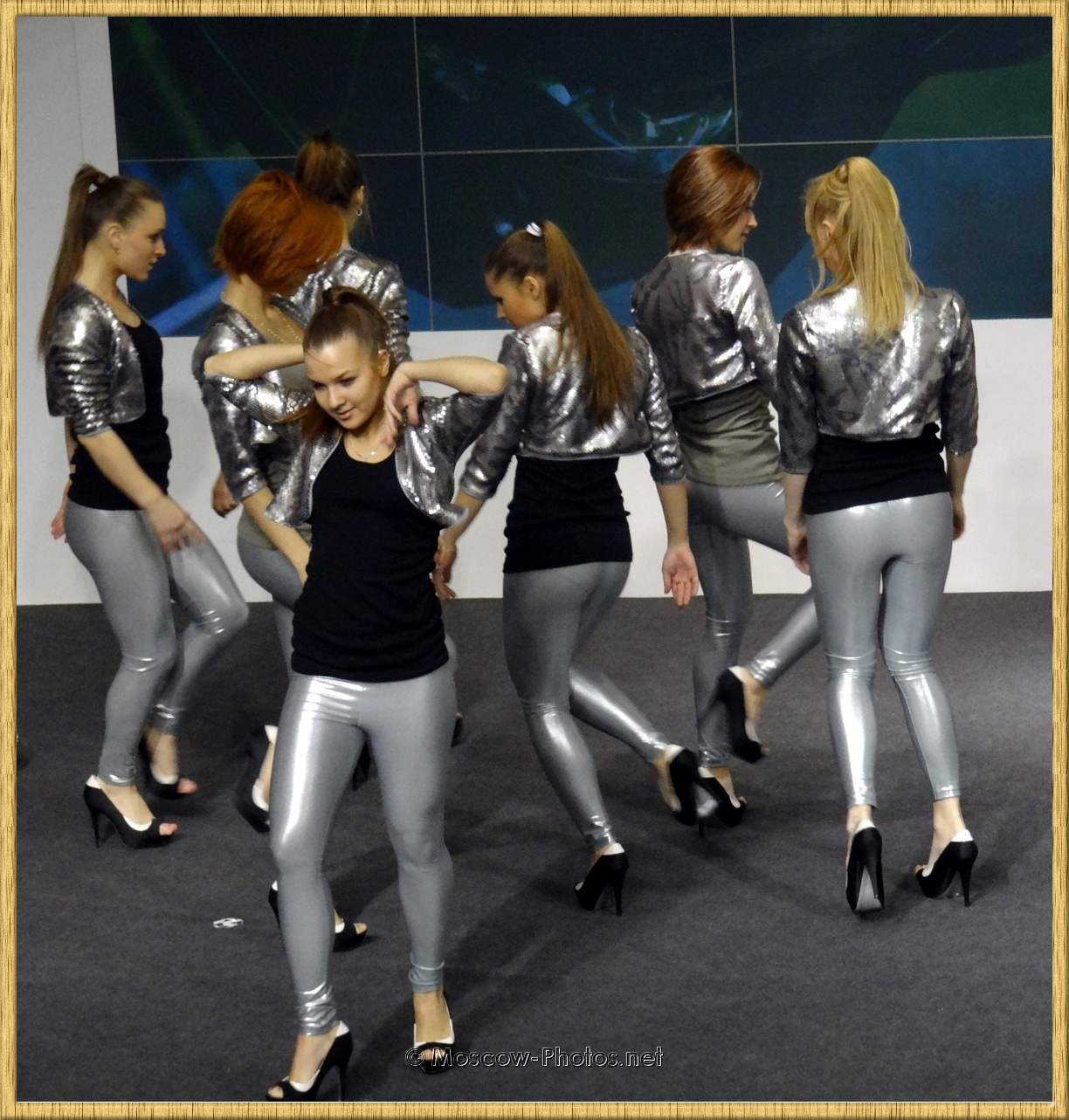 Girls dancing in silver leggings