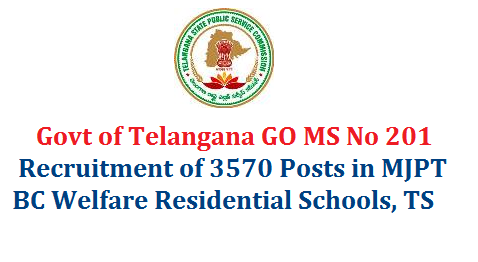 ms-no-201-recruitment-of-3570-posts-bc-welfare-residential-scholls-telangana WELFARE DEPARTMENT – Sanction of posts in one hundred and nineteen (119) Backward Classes Welfare Residential Schools under Mahatma Jyothibha Phule Telangana Backward Classes Welfare Residential Educational Institutions Society (MJPTBCWREIS) – Orders - Issued.