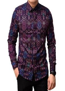 Contoh Baju Batik Pria Lengan Panjang