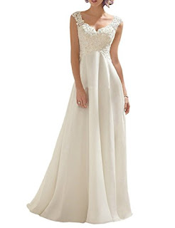 Women's Double V-neck Sleeveless Lace Wedding Dress