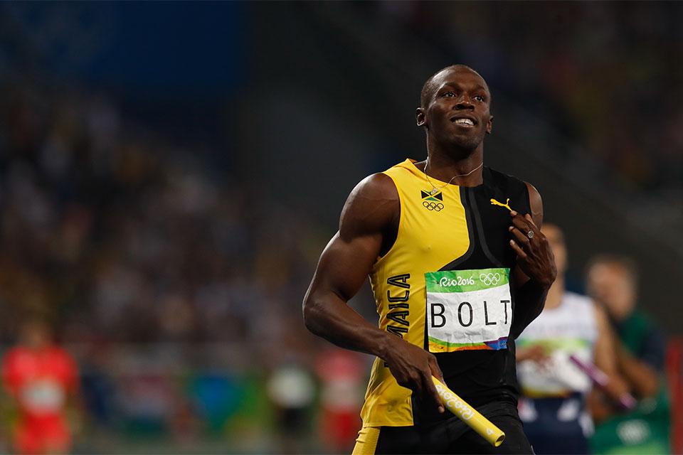 Usain Bolt ganha terceiro ouro nos Jogos Rio 2016 ao vencer o revezamento 4 x 100m com Asafa Powell, Yohan Blake e Nickel Ashmeade no Estádio Olímpico. Foto: Fernando Frazão/Agência Brasil