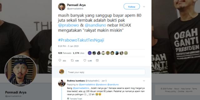 NGAKAK! Logika NGAWUR Pendukung Petahana: Bisa Bayar 80 Jt Bukti Rakyat Indonesia Tidak Miskin. Warganet: Itu Otak Atau Kuaci?