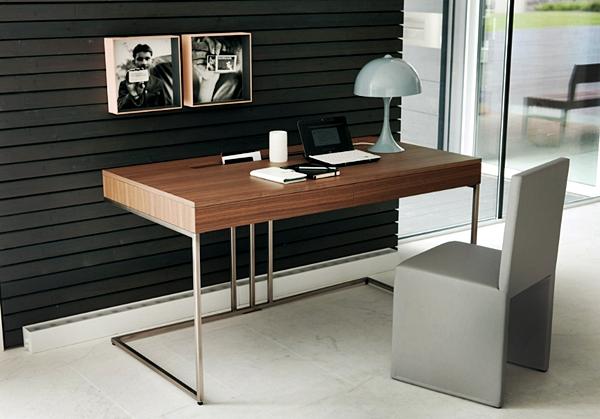 11 Desain Model Meja Kerja Minimalis Untuk Rumah dan Kantor Berukuran Kecil bahan kayu solid