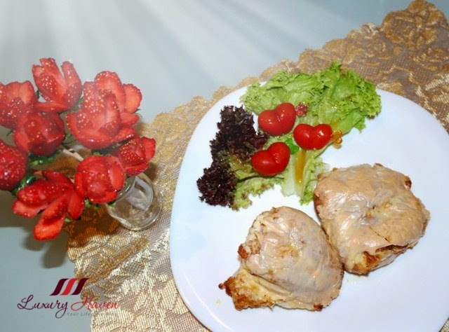 valentines day strawberry roses baked cheesy chicken fillet