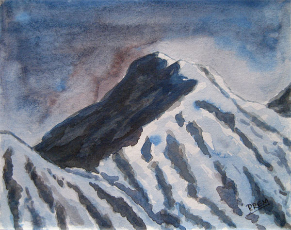 Watercolor Painting of Mountain in Wet Mood
