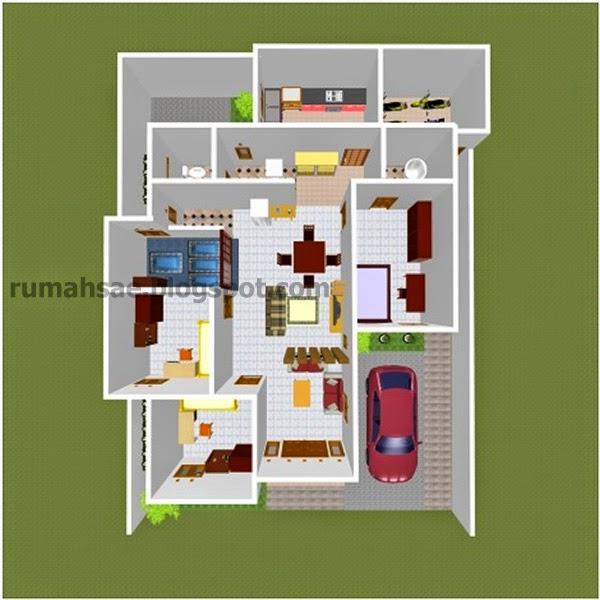 Denah 3 dimensi rumah 1 lantai