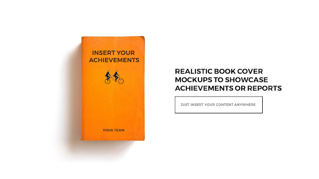 Realistic Orange Color Book Cover Mockups To Showcase Book or Report