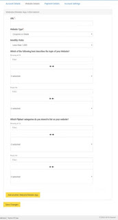 Website details for your Flipkart affiliate program account