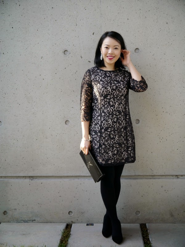 Holiday party outfit: little black lace dress