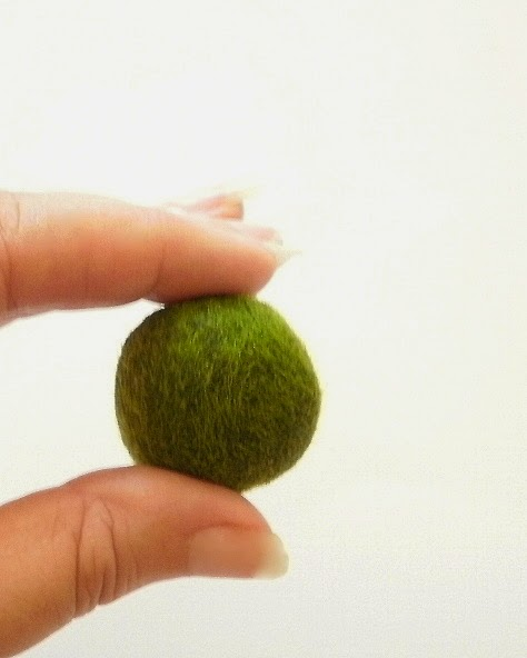 Marimo moss ball being held