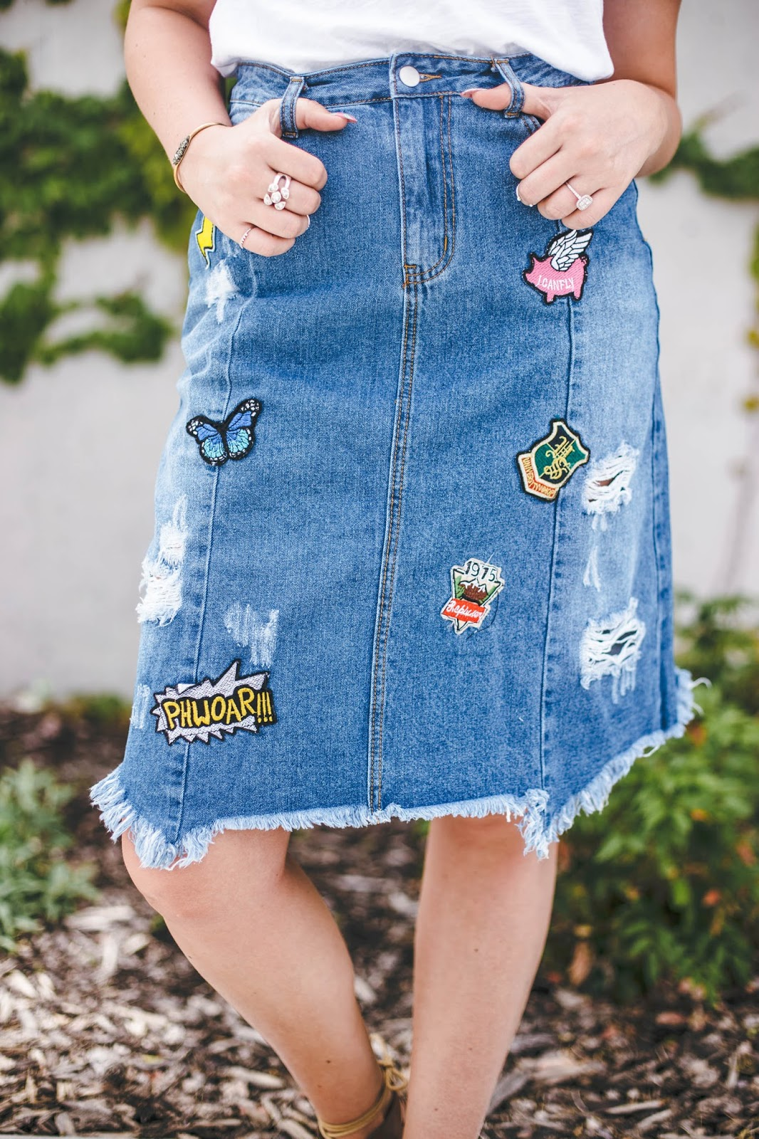 Knee Length Denim Skirt, Cute Denim Skirt, Denim Skirt Outfit