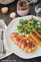 Pollo relleno de queso envuelto con beicon y chutney de cebolla caramelizada de Can Bech-cocinando-con-neus