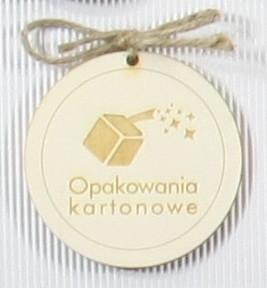 zawieszki ze sklejki z logo firmy