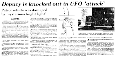 Deputy is Knocked Out in 'UFO Attack' – The Grand Forks Herald 8-29-1979