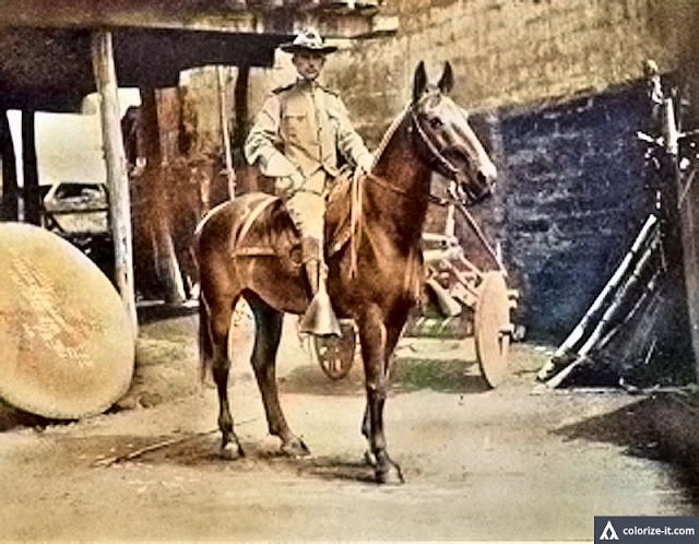 Lt. C. Rodman Jones atop his horse, Batangas 1902.