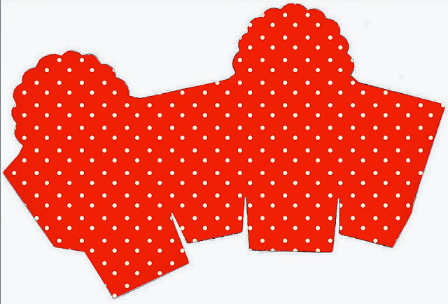 Caja para Cupcakes o Golosinas de Rojo, Amarillo y Lunares Blancos.