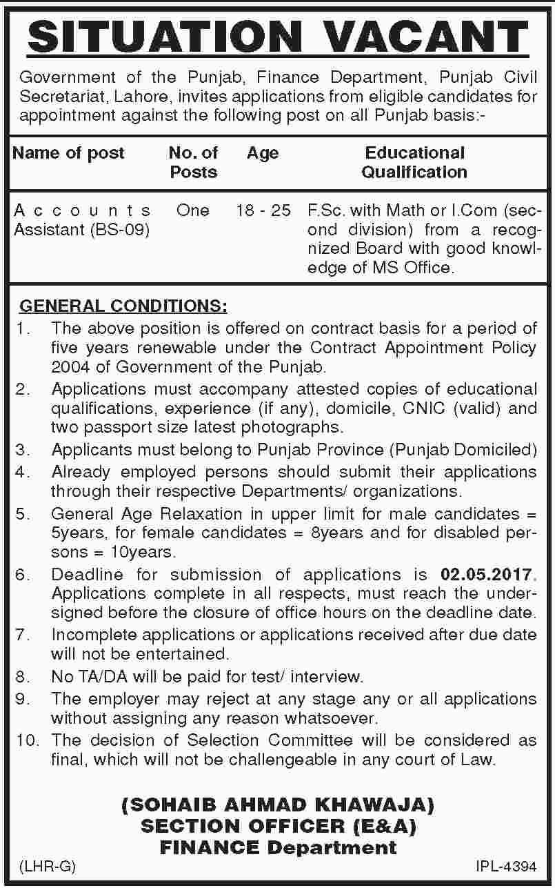 Finance Department Government Of The Punjab Jobs