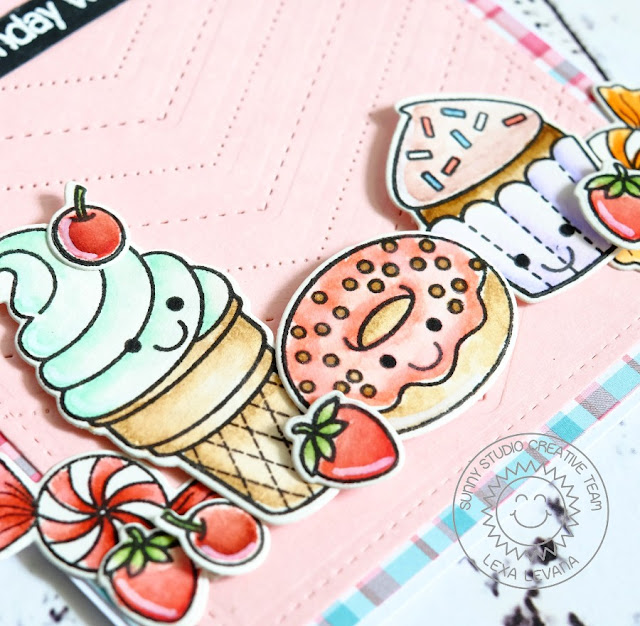 Sunny Studio Stamps: Sweet Shoppe & Fishtail Banners Ice Cream, Cupcake & Donut card by Lexa Levana.