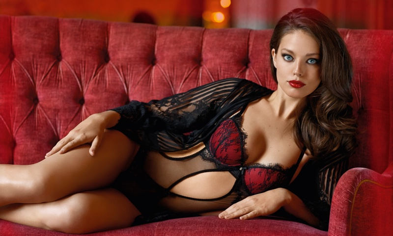 Emily DiDonato poses in Yamamay Pure Temptation Parisian padded basque and Fancy Move Brazilian thong in flocked tulle