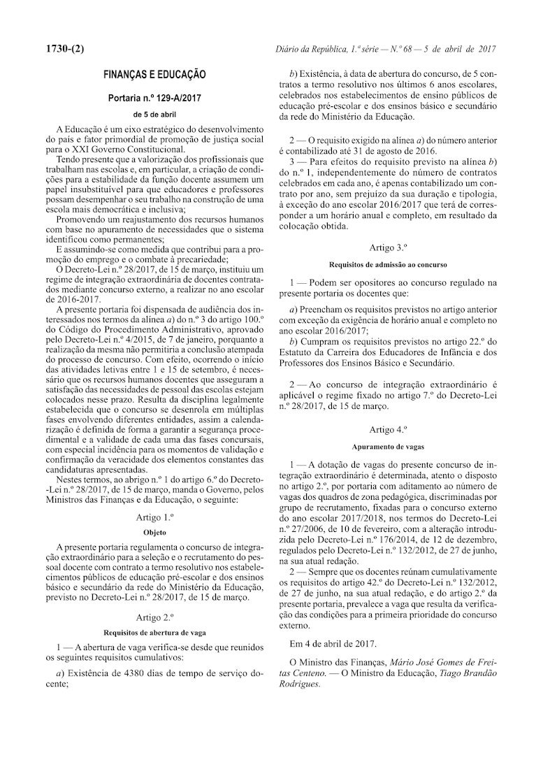 Escola xxi portaria n 129 a 2017 regulamenta o concurso for Concurso docentes 2017