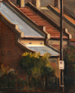 Oil painting of several Victorian-era single-storey terrace houses and a front garden with cast iron fence.