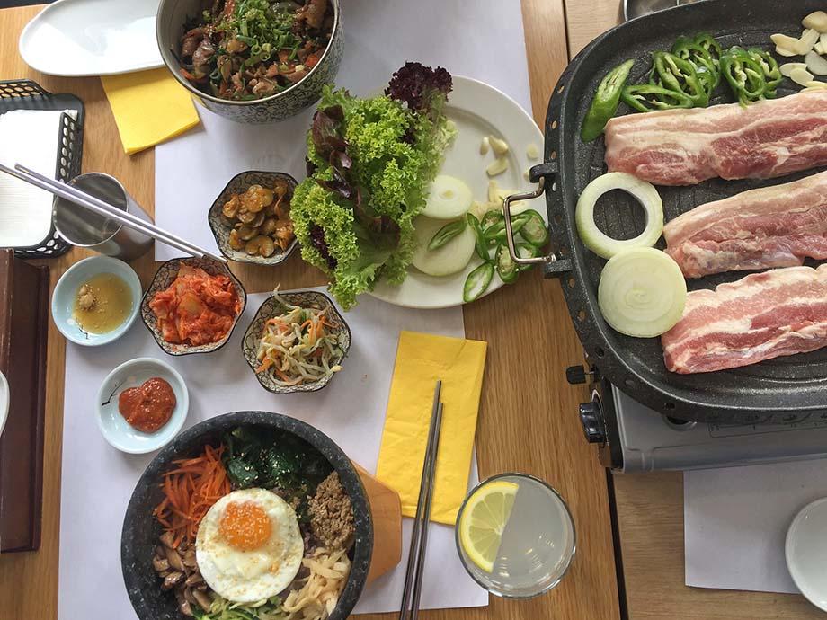 bibimbap, barbecue, pork belly
