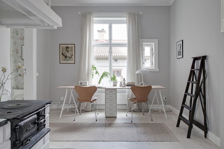 Skandynawsko - francuski apartament, wystrój wnętrz, wnętrza, urządzanie mieszkania, dom, home decor, dekoracje, aranżacje, styl francuski, styl skandynawski, scandi, French style, Scandinavian style, jasne wnętrza, bright interiors, gabinet, office, drabina