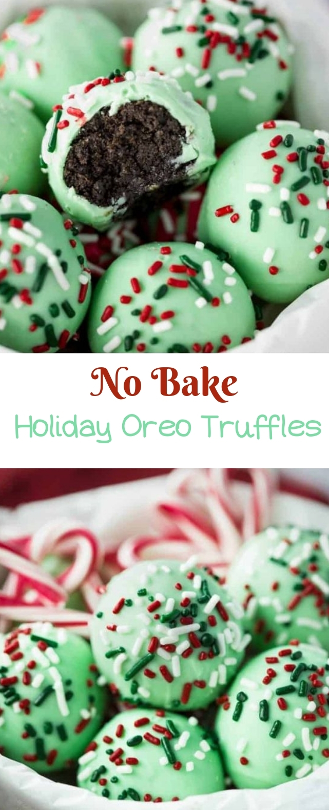 No Bake Holiday Oreo Truffles #truffles #dessert