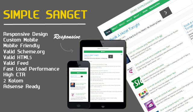 Gratis Template Blogger Simple Sanget Responsive Ringan dan High CTR Adsense