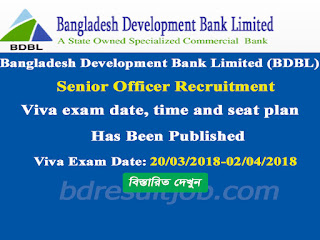 BDBL Senior Officer Recruitment Paper Submit date, Viva exam date, time and seat plan