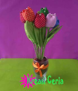 Tutorial Cara Membuat Bunga Tulip dari Kain Perca