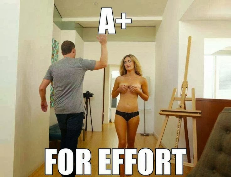 Funny A+ for effort man woman joke photo meme