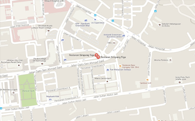 Peta Restoran Simpang Tiga Ipoh