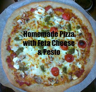 Homemade Pizza with Feta Cheese & Pesto
