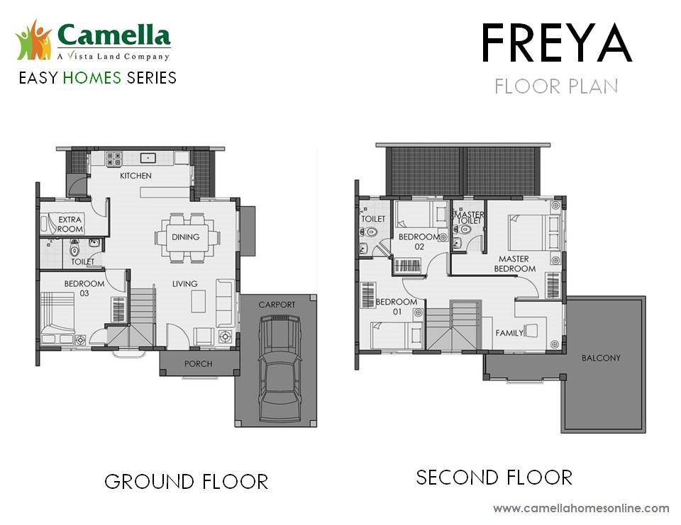 Floor Plan of Freya - Camella Cerritos | House and Lot for Sale Daang Hari Bacoor Cavite