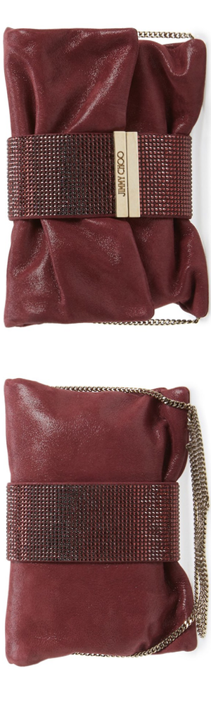 Jimmy Choo 'Chandra' Shimmer Suede Clutch