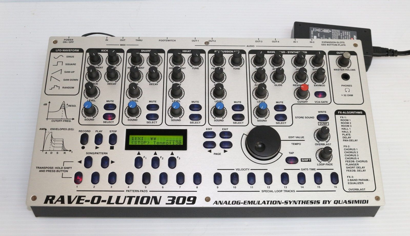 matrixsynth quasimidi rave o lution 309 synthesizer drum machine sequencer sn 44485. Black Bedroom Furniture Sets. Home Design Ideas