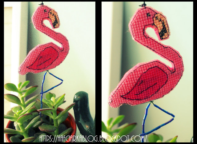 Pan Flamingo – cross-stitch