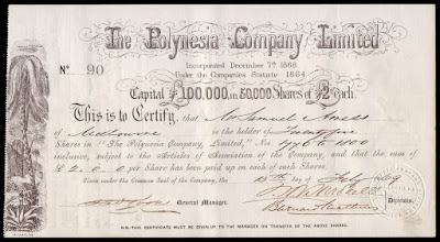 Polynesia Company share certificate