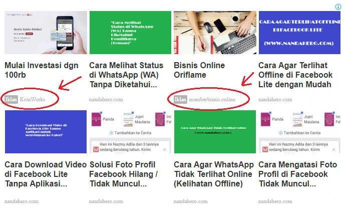 contoh jenis iklan matched content versi desktop