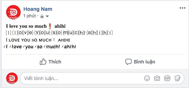 Status facebook được in đậm