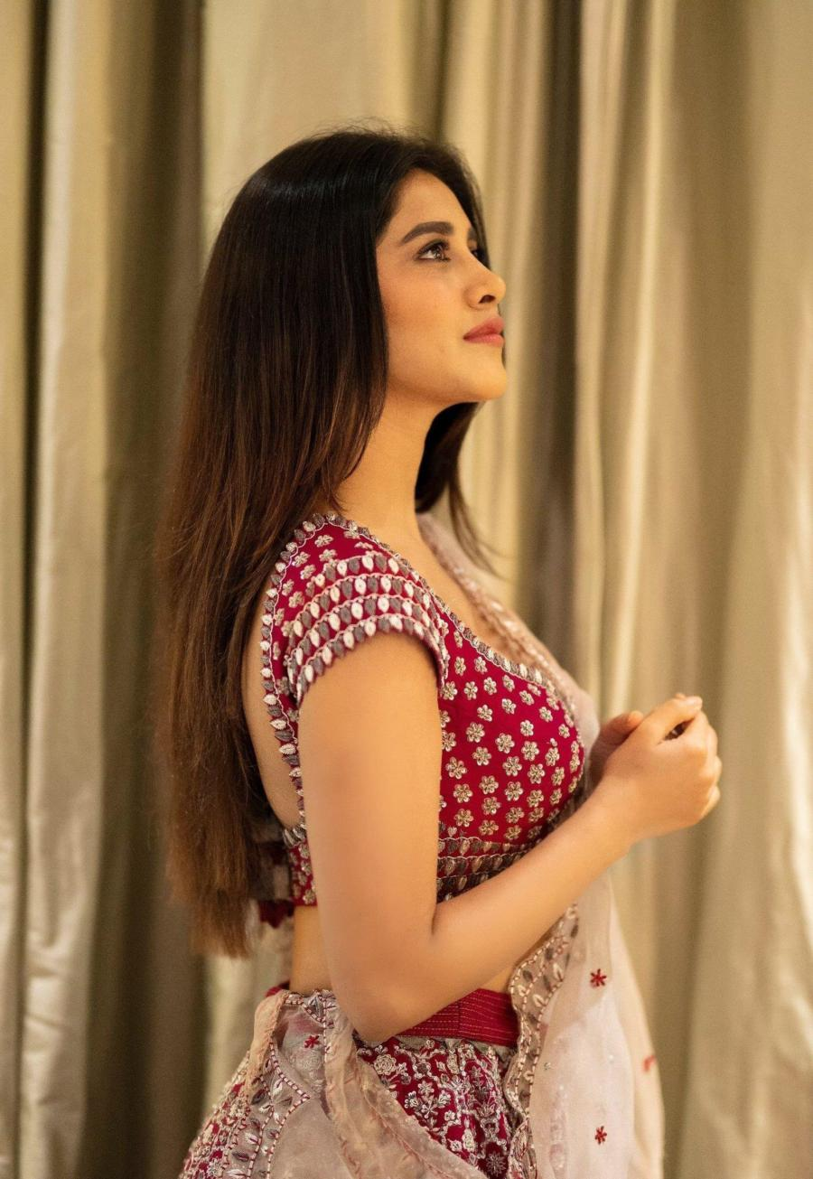 Indian Model Nabha Natesh Photoshoot In Maroon Lehenga Choli