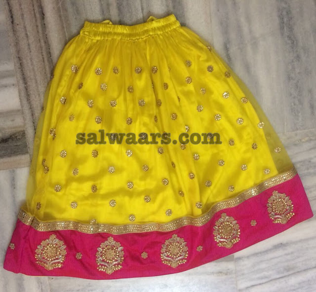 Mirror Lehenga in Yellow and Pink