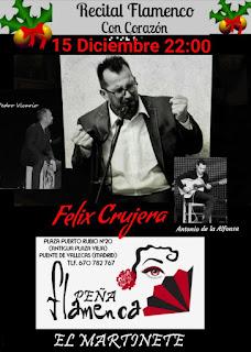 Cartel del Recital Flamenco con Corazón, Peña Martinete, Madrid, 15 de diciembre de 2017