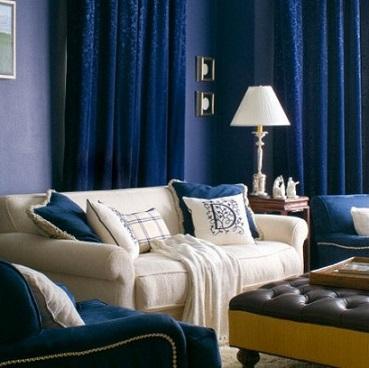 Salas en color azul salas con estilo - Cortinas azul marino ...