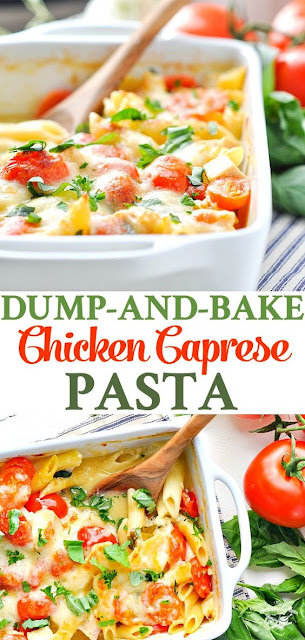 Dump and Bake Chicken Caprese Pasta