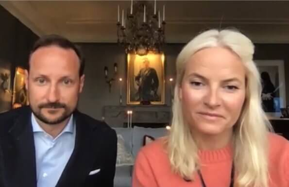 Crown Prince Haakon and Crown Princess Mette-Marit contacted with Norwegian Council for Mental Health. pink sweater